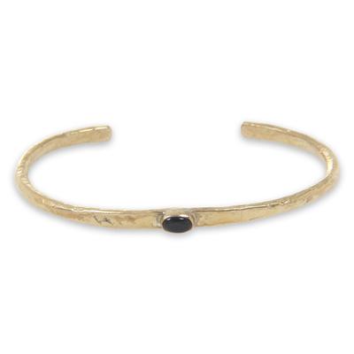 Black Agate on Antiqued Brass Cuff Bracelet from Bali