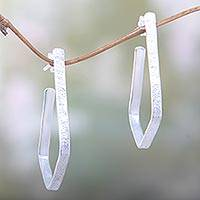 Silver plated half hoop earrings, 'Empower' - Artisan Crafted Sterling Silver Plated Earrings from Bali