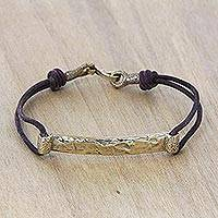 Leather and brass wristband bracelet, 'Cause of Admiration in Brown' - Brown Leather and Antiqued Brass Wristband Bracelet