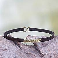 Leather wristband bracelet, 'Imagine' - Leather Brass Bracelet with Engraved Inspirational Message