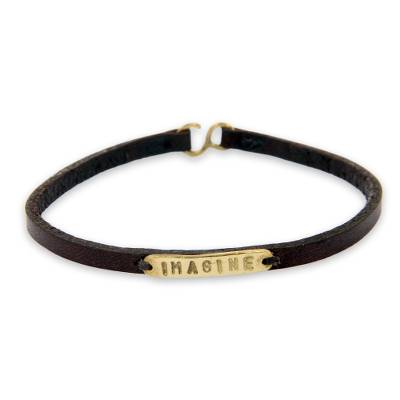 Leather Brass Bracelet with Engraved Inspirational Message