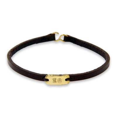 Brass Hugs and Kisses on Black Leather Wristband Bracelet
