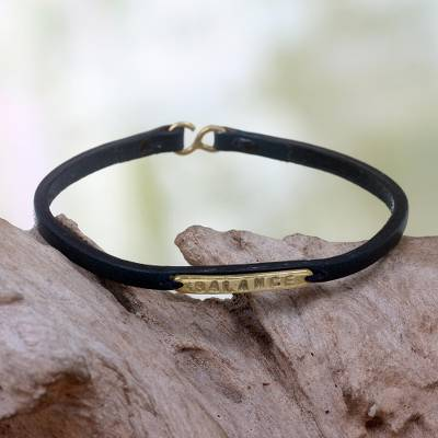 Leather wristband bracelet, 'Balance' - Leather Wristband Bracelet with Inspirational Message