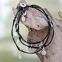 Leather and silver plated wrap bracelet, 'Embolden' - Silver Plated Charms on Black Leather Wrap Bracelet