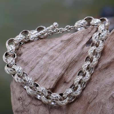 Sterling silver chain bracelet, 'New Paths' - Patterned Sterling Silver Artisan Crafted Bracelet from Bali