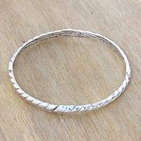 Sterling silver bangle bracelet, 'Connect' - Fair Trade Sterling Silver Bangle Hand Crafted Bracelet