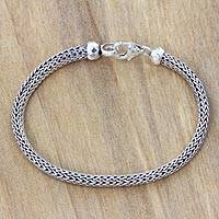 Sterling silver chain bracelet, 'Naga Champion' - Sterling Silver Chain Bracelet Fair Trade Bali Jewelry