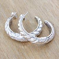 Sterling silver half hoop earrings, 'Connect' - Patterned Sterling Silver Artisan Earrings from Bali