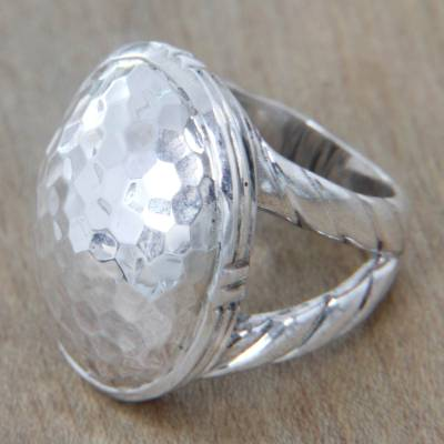 Sterling silver dome ring, 'Plateau' - Sterling Silver Domed Ring Hand Crafted from Bali Jewelry