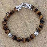 Tiger's eye beaded bracelet, 'Tigress' - Faceted Tiger's Eye Bracelet with Sterling Silver