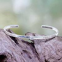 Silver plated cuff bracelet, 'Light Treasure' - Clear Cubic Zirconia on 925 Silver Plated Cuff Bracelet