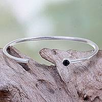Silver plated cuff bracelet, 'Moonlit Minimalism' - Black Cubic Zirconia on Silver Plated Brass Cuff Bracelet