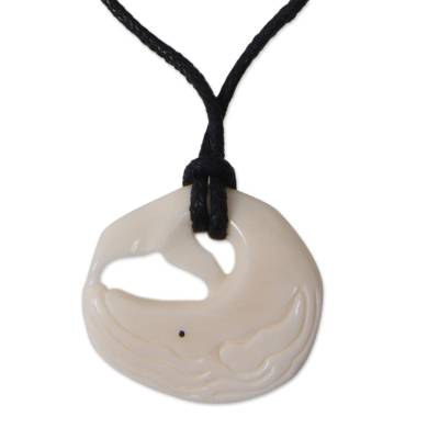 Bone pendant necklace, 'Whale Truths' - Hand Crafted Bone Pendant on Cotton Necklace