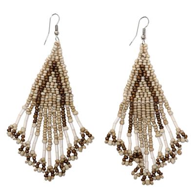 Beige and Brown Glass Beaded Waterfall Dangle Earrings