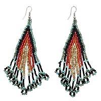 Beaded waterfall earrings, 'Mambo Queen' - Multicolored Glass Beaded Earrings Stainless Steel Hooks
