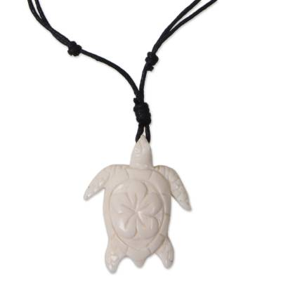 Bone pendant necklace, 'Penyu' - White Turtle Hand Carved Bone Pendant on Black Cotton