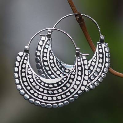 Sterling silver hoop earrings, 'Moon Sliver' - Artisan Crafted Sterling Silver Hoop Style Earrings