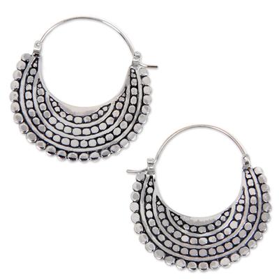 Artisan Crafted Sterling Silver Hoop Jewelry Earrings