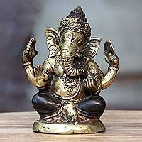 Bronze statuette, 'Ganesha's Four Treasures' - Bronze Statuette of Hindu Lord Ganesha from Bali