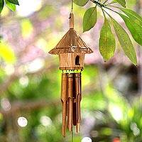 Bamboo wind chimes, 'Sumatra Jungle House' - Artisan Crafted Bamboo Chimes with Decorative House
