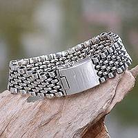 Men's sterling silver wristband bracelet, 'New Age Warrior' - Men's Jewelry Sterling Silver Wristband Bracelet from Bali