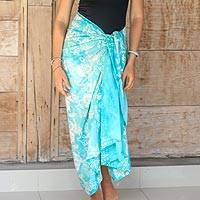 Rayon sarong, 'Blue Sea' - Women's Aqua and White Rayon Floral Batik Print Sarong