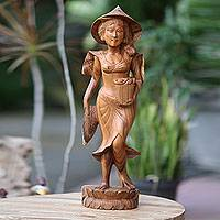 Wood sculpture, 'Balinese Lady Farmer' - Detailed Wood Sculpture of Woman Farmer in Bali