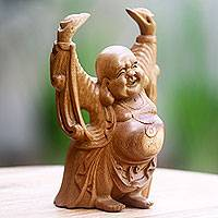 Wood statuette, 'Relaxed Happy Buddha' - Artisan Crafted Wood Sculpture of Happy Buddha from Bali