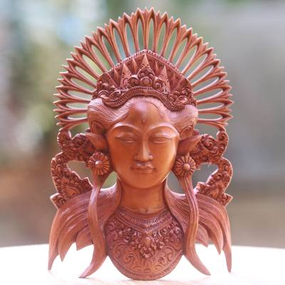 Wood sculpture, 'Balinese Muse' - Hand Carved Wood Sculpture Mask of Woman with Crown