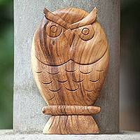 Wood wall sculpture, 'Owl Philosophy' - Hand Carved Wood Owl Wall Panel Sculpture from Bali