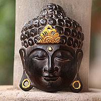 Wood wall sculpture, 'Golden Buddha Serenity' - Artisan Crafted Wood Wall Sculpture of Buddha from Bali