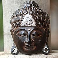 Wood wall sculpture, 'Silver Buddha Serenity' - Hand Crafted Wall Sculpture Buddhism Art from Bali