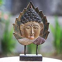 Wood sculpture, 'Buddha Leaf' - Hand Carved Buddha in Pipal Leaf Wood Sculpture with Stand