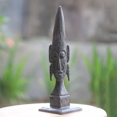 Wood sculpture, 'Ancestral Batak' - Hand Carved Indonesian Tribal Wood Sculpture