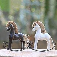 Wood statuettes, 'Jaran Goyang III' (pair) - Hand Carved Wood Rocking Horse Statuettes (Pair)