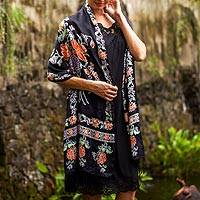 Silk batik shawl, 'Sweet Night Blossoms' - Artisan Crafted Silk Batik Shawl from Bali