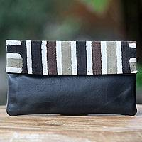 Leather accent cotton clutch handbag, 'Black Java Tiger' - Hand Painted Cotton Clutch with Black Leather