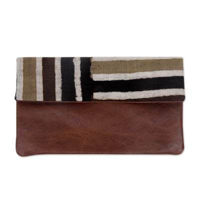 Handwoven Cotton Hand Painted Clutch with Brown Leather