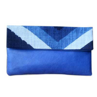 Handwoven Cotton Clutch Handbag with Blue Leather