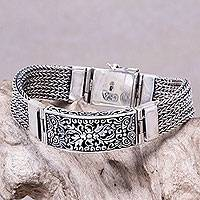 Men's sterling silver wristband bracelet, 'Balinese Mimosa' - Handcrafted Balinese Sterling Silver Bracelet for Men