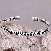 Men's sterling silver cuff bracelet, 'Go with the Flow' - Handcrafted Sterling Silver Men's Cuff Bracelet from Bali