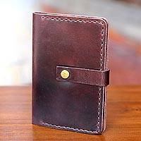 Leather passport wallet, 'Jakarta Oak' - Dark Brown Leather Passport Wallet Handmade in Bali