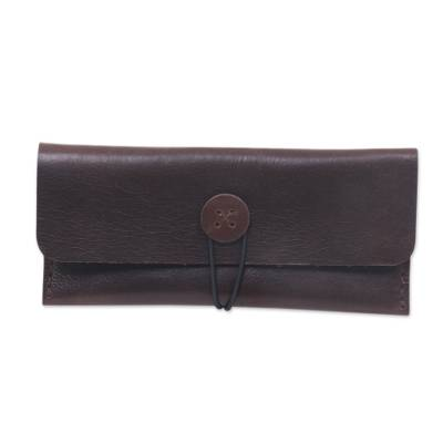 Dark Brown Leather Wallet Crafted by Hand in Java