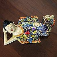Wood sculpture, 'Sleeping Balinese Buddha' - Balinese Hand Crafted Signed Wood Sculpture of Buddha