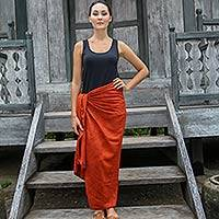 Cotton blend sarong, 'Orange Coffee Bean' - Deep Orange Dot Print Cotton and Rayon Blend Sarong