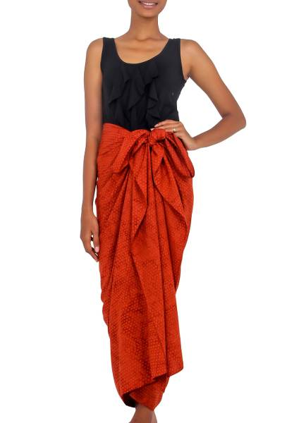 Deep Orange Dot Print Cotton and Rayon Blend Sarong