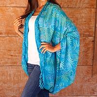Rayon jacket, 'Denpasar Lady in Turquoise' - Versatile Turquoise Blue Batik Shawl Jacket Accessory