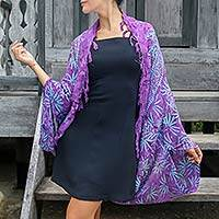 Rayon jacket, 'Denpasar Lady in Purple' - Purple Rayon Batik Shawl Jacket Versatile Accessory