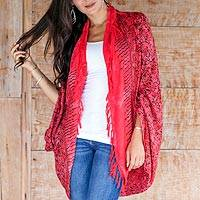 Rayon jacket, 'Singaraja Vine in Red' - Brilliant Red Rayon Shrug Jacket with Hand Stamped Batik