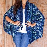Rayon jacket, 'Denpasar Lady in Navy' - Navy Blue Print Rayon Batik Open Front Jacket for Women